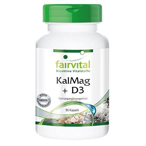 fairvital vitamin d3 KalMag plus D3 - GROSSPACKUNG für 3 Monate - 90 Kapseln - Kalzium Magnesium und Vitamin D3