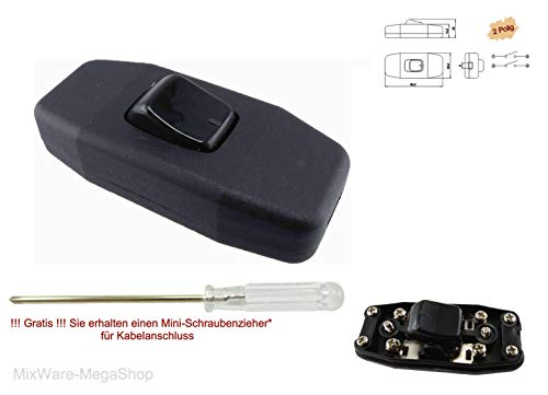 Schnur-Zwischenschalter schwarz mit zugentlastungen, 2-polig, 6A 250V, Paßt für LED, SMD (Schwarz)