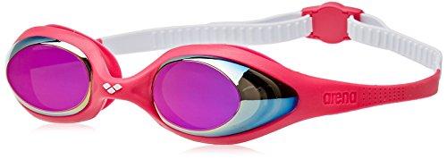 arena Kinder Unisex Wettkampf Schwimmbrille Spider Junior Mirror (Verspiegelt, UV-Schutz, Anti-Fog Beschichtung), White-Pink-Fuchsia (19), One Size
