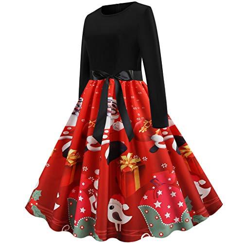 Kostüm Cheerleader 50er Jahre - Sllowwa Weihnachtskleid Damen Vintage Kleid Vintage 50er Jahre Blumen Swing Party Kleider Schwarz Rockabilly Retro Hepburn Cocktailkleider Frauen Kurzarm Rundhals Swing Skirt Abendkleid(rot,XX-Large)