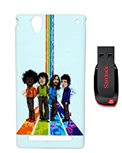 ZOOP Premium High Quality Rubberized Protective Printed Case Cover for Sony Xperia T2 -The Beatles (ROCK BAND) With 16GB Pendrive