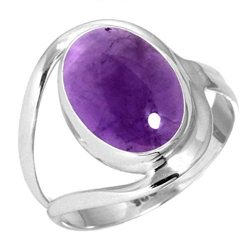 Jeweloporium Natürliche Amethyst Frauen Schmuck 925 Sterling Silber Ring Größe 57 (18.1)