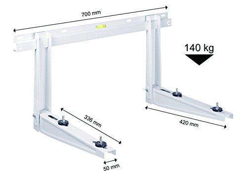 Michl Wandkonsole Halterung Wärmepumpe, Klimagerät, Klimaanlage 140 kg MTMS254, Weiß