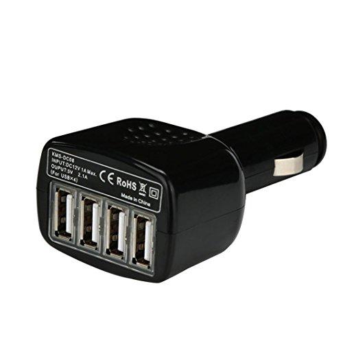 MMLC Auto Ladegerät Adapter 4Port USB DC 12V zu 5V für Handy für iPhone für Samsung (Schwarz) (4-port Auto Usb)