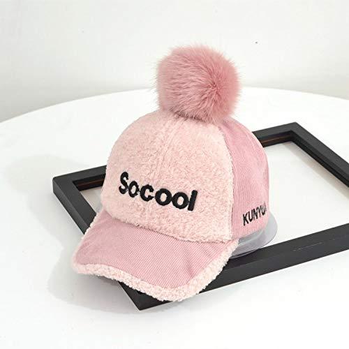 mlpnko Big hair ball warm lamb hair hat letters embroidery retro baseball cap children curved caps pink 50-54CM