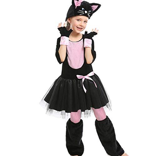 Schwarzen Kostüm Kleid Niedlichen - AIYA Halloween Tier Kleid Cosplay Schwarze Katze rosa Bogen sechs EIN Kindertag Tierkostüm