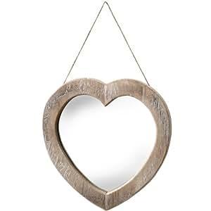 Miroir en bois en forme de cœur à suspendre avec corde
