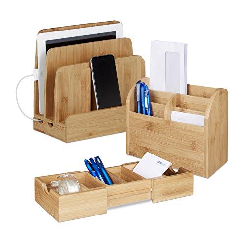 3 tlg. Schreibtisch Organizer Set Bambus, Karteikasten zum Ausziehen, Ladestation für Smartphones, Briefablage, natur