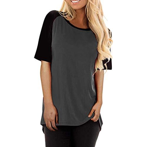iZZB Damen t Shirt Sommer Lässige Solid Patchwork Kurzarm Bluse Weste Oberteile Tops Mode 2019 (Grau-A, Medium)