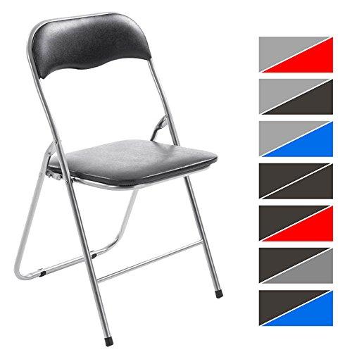 CLP Klappstuhl Küchenstuhl FELIX, Metallgestell, Kunststoff-Sitz gepolstert schwarz/silber Test