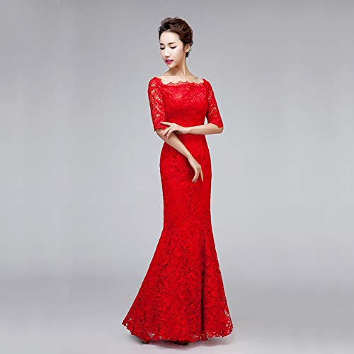 BINGQZ Damen/Elegant Kleid/Cocktailkleider Braut rote Farbe Abendkleid Langen formalen Ausschnitt Spitze Verband mittlere Ärmel Frauen Kleid Party Kleider (Rote Spitzen-kleid Frauen Für)