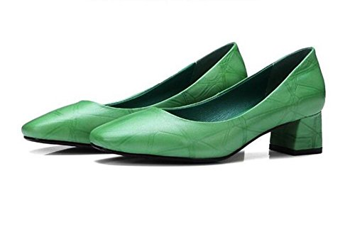 Beauqueen Pumps Fashion Lattice Mary Janes Square-Toe Chunky Ferse Elegante Arbeit Schuhe EU Größe 34-39 Green