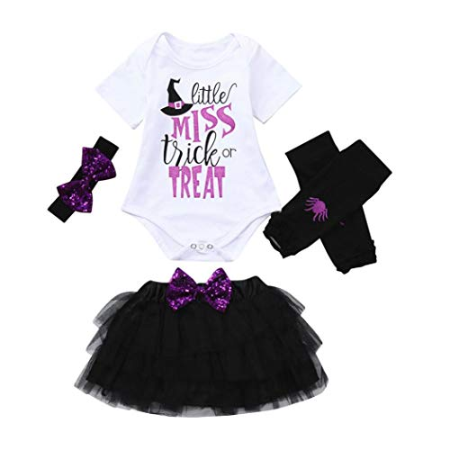 Halloween Kostüme Sets Baby Mädchen 4PCS Leter Pailletten Tops Strampler Gaze+Rock Haarband+Warm Beinset Toddler Kinderkleidung Set Ballkleid für Party Outfit Kleidung Sets(Lila)