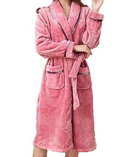Inverno Addensare Caldo Signore Pigiama Abito Da Notte Codice Grande Lungo Paragrafo Flanella Accappatoi Servizio Domestico Pink