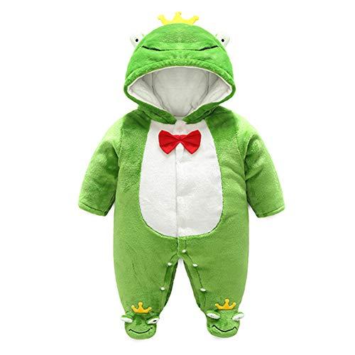 Baby Strampelanzug mit Füssen, Mütze für Jungen und Mädchen, mit Kapuze, für 0-12 Monate, Halloween, Cosplay-Kostüm, frosch, 80 cm