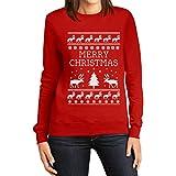 Frohe Weihnachten Rentier Weihnachtsbaum Winter Frauen Sweatshirt Small Rot