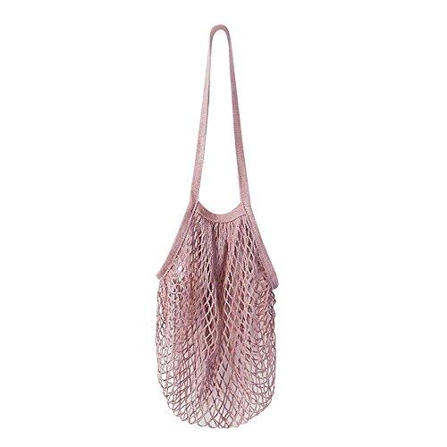 Bast-shopper (Wiederverwendbar Einkaufstasche Lange Tasche, Shopper UmhäNgetasche ÜBergroßE Netztasche, Familie Obstbeutel GemüSetüTe Kinderwagen ZubehöR HäNgende Tasche, Sommer Strandtasche Wasserdicht (Pink))