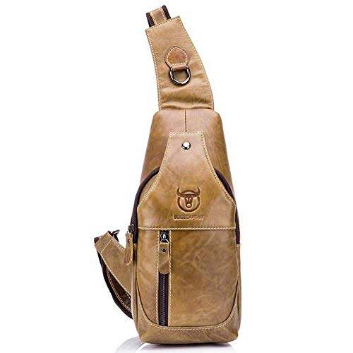 CWeep Shoulder Bullcaptain Genuine Leather Men Bags,Multi-Functional Outdoor Sports Chest Bag Pack, Shoulder Sling Crossbody Bag Casual Mens Chest Bag Travel Hiking Backpack (Yellow Brown)