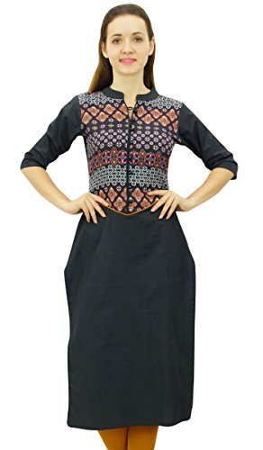 Phagun Designer Black Cotton Kurti Jacke Stil Tunika Frauen Ethnische Kurta - 38 - Black Kurta