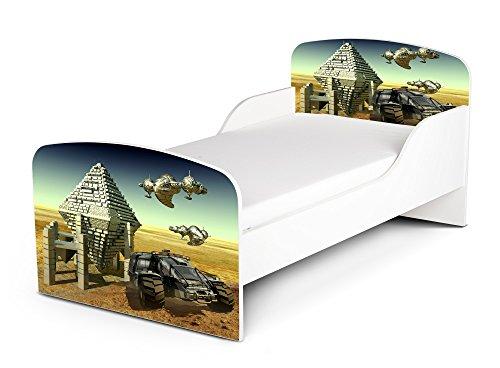Leomark KINDERBETT 140x70 Funktionsbett Einzelbett mit Matratze Motiv: Raumfahrzeug Sehr Einfache Montage