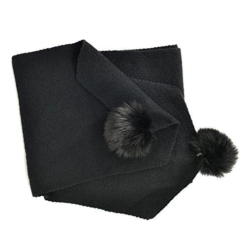 Heyjewels doux Foulard avec des boules mignonne en couleur pure Noir