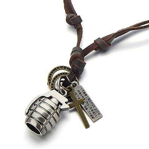 Vintage Pendentif Grenade - Collier Homme Garçons - avec Cordon en Cuir Réglable