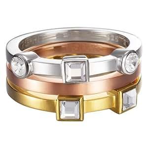 Esprit - ESZZ10717A160 - Conjunction Bicolor - Bague Femme - Acier inoxydable 7 gr - Cristal - Oxyde de zirconium - Blanc - T 50