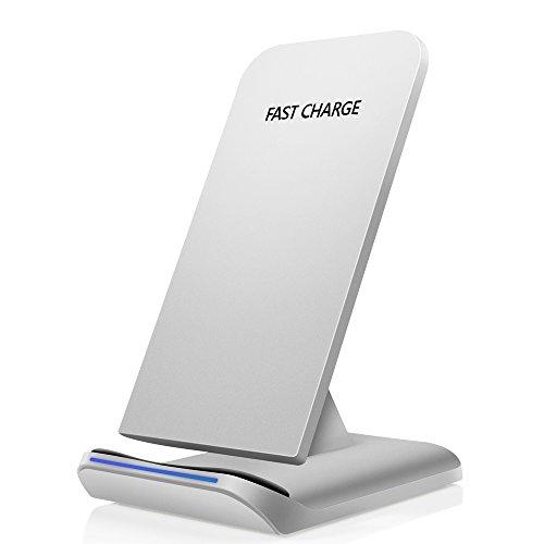 Rápido Cargador Inalámbrico Yarrashop Cargador de Teléfono Rápido Qi Carga Rápida para iPhone X 8 8 Plus Samsung Galaxy S8 S8 Plus S7 S6 edge+ nota 8 y todos los dispositivos Qi-Activados Plata