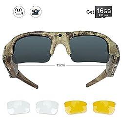 Wiseup 16gb Camouflage Spy Camera Sunglasses Hd Video Recording Eyewear For Hunting Fishing