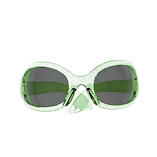 e Party Sonnenbrille grün Damen Glitzer Partybrille Disco Star Funbrille Retro Space Spaßbrille Glitter Sunglasses (Disco Brille)