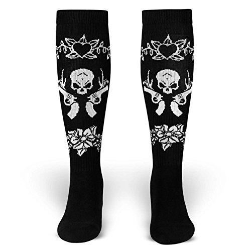 La Vida Loca | Socken von ROCKASOX | schwarz, weiss | heart, guns & skull | kniehoch | Unisex Strümpfe Size M (39-42)