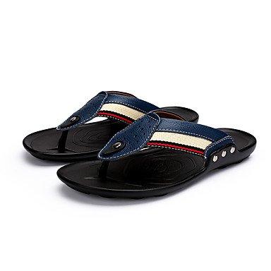 Slippers & amp da uomo;Luce Estate Soles pelle bovina casuale Heel Flat White Nero Marrone Blu Sanda sandali US7 / EU39 / UK6 / CN39