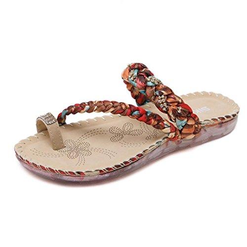 Damen Flip Flops, Dasongff Frauen Boho Flip Flops Sandalen Casual Keil Clip Toe Strandschuhe Geflochten Hausschuhe Bequeme Slipper Schuhe Strass ZehentrennerSandals (41, Rot) (Lace Toe Up Sandal Peep)
