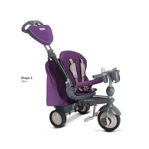 smarTrike 8400500 Baby Tricycle Smartrike Adjustable/ removable, telescopic touch steering parent handle, reclining seat 5-point seat harness and safety bar Quality storage bag coordinated with detachable and adjustable canopy, shoulder pads and seat pad 4