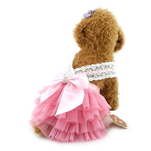 Einfach Rüsche-rock (selmai Hochzeit Kleid für kleine Hunde, mit Schleife Princess Tutu Halfter Kleid formale Rock Rüsche Pet Puppy Katze Hund Sommer Kleidung)