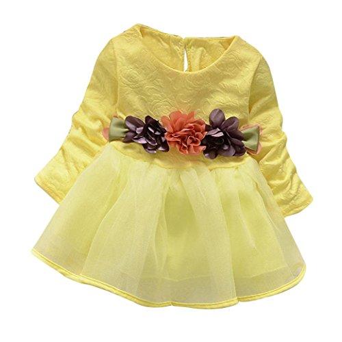 Longra Baby Kinder Mädchen Langarm Prinzessin Blumen Kleid Kostüm Tutu Kleid Karneval Party Kleid Baby Outfits Kleidung(0-3Jahre) (110CM 3Jahre, Yellow) (Stretch-strumpfhosen Tanz)