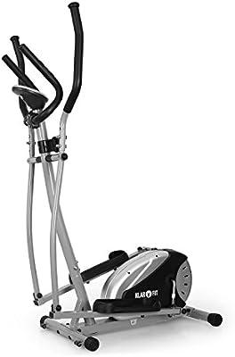 Klarfit ELLIFIT BASIC 20 bicicleta elíptica (para un peso corporal máximo de 100 kg, 145 cm de altura, 25 kg de peso, con pulsómetro, zancas antideslizantes, pantalla LCD)