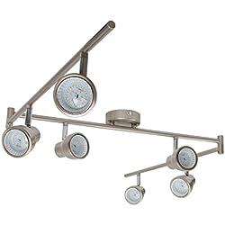Briloner Leuchten 2764-062 A+, LED Deckenleuchte, Deckenleuchte, Deckenstrahler 6-flammig, Spots dreh- und schwenkbar, Licht warm weiß, 30 Watt, 2400 Lumen, Metall, matt nickel, 170 x 16 x 16 cm