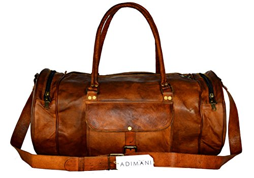ADIMANI Vintage Handcrafted Leather Gym Workout Bag 22'' Inches Overnight Weekend Travel Bag Holdall Luggage Sports Cabin Bag For Men and Women