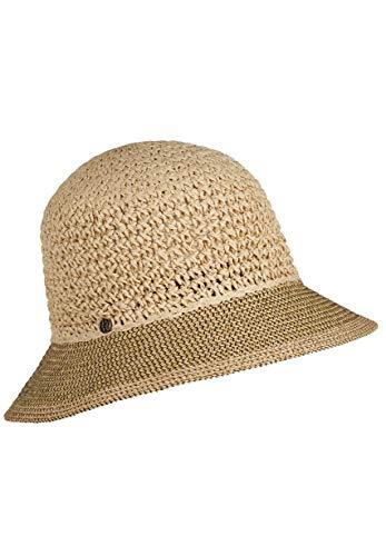 LOEVENICH Damen zweifarbige Häkelglocke, sommerlicher Hut, Farbe: Natural (Hüte Asiatische Stroh)