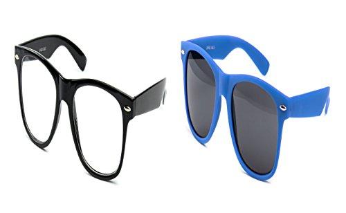 2 er Set Nerd Sonnenbrille Partybrille für Damen und Herren Brille Klar Schwarz + Dunkel Blau Matt Gummi