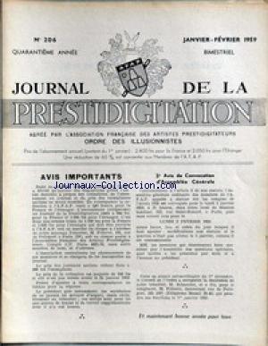 JOURNAL DE LA PRESTIDIGITATION [No 206] du 01/01/1959 - AVIS DE CONVOCATION D'ASSEMBLEE GENERALE.