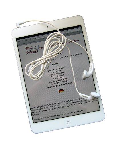 Spartechnik High-end Ohrhörer für Apple iPad Mini und ipad - Kopfhörer 3,5mm Klinke - weiss, gewinkelter Stecker - beste Hifi Stereoqualität - Ohrhörer Ipad Apple Mini