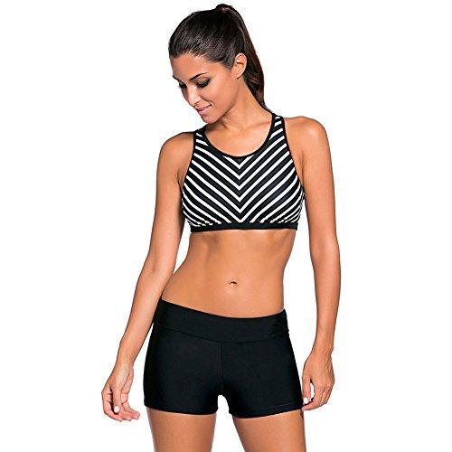ZQA&N Frauen Bikini_konservative Streifen Bewegung big size swimsuit M