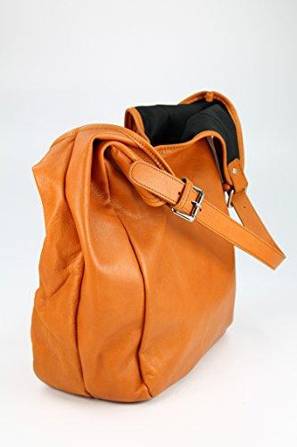 BELLI ital. Nappa Leder Shopper Schultertasche Firenze - Farbauswahl - 30x30x14 cm (B x H x T) Cognac