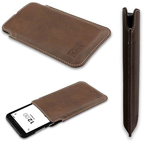 caseroxx Tasche/Hülle Business-Line Etui Lumigon T2 HD - Schutzhülle für Smartphone (Handy Sleeve in braun)