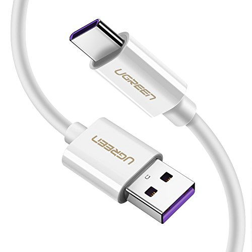 UGREEN USB C Ladekabel 5A Super Charge Kabel USB Typ C Ladekabel unterstützt für Huawei P20 Pro, P20, Mate 20 Pro, Honor10, Honor V10, Mate 10 Pro, P10, P10 Plus, Mate 9 Pro 1M Weiß