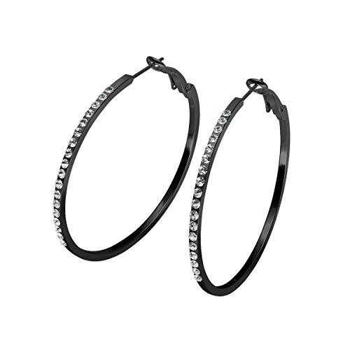 SoulCats® 1 Paar schwarze Creolen mit Strass, Größe:Ø 5 cm