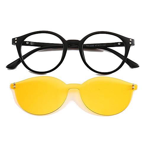 Yiph-Sunglass Sonnenbrillen Mode Rahmenlose Einteilige Sonnenbrille mit austauschbaren Gläsern für Männer, Frauen, farbige Linse unzerbrechliche Sonnenbrille mit Magnet (Farbe : Gelb)