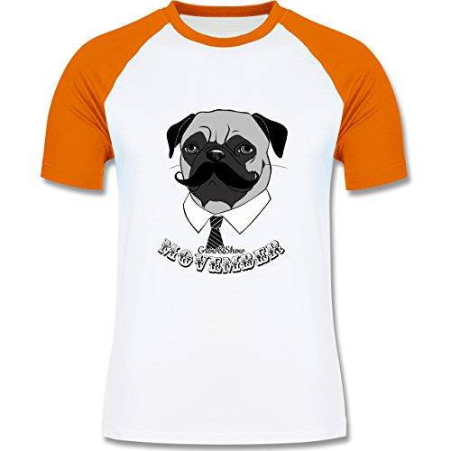 Statement Shirts - Movember Mops - zweifarbiges Baseballshirt für Männer Weiß/Orange